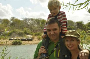 The author with husband Andy and son Solo in Zimbabwe