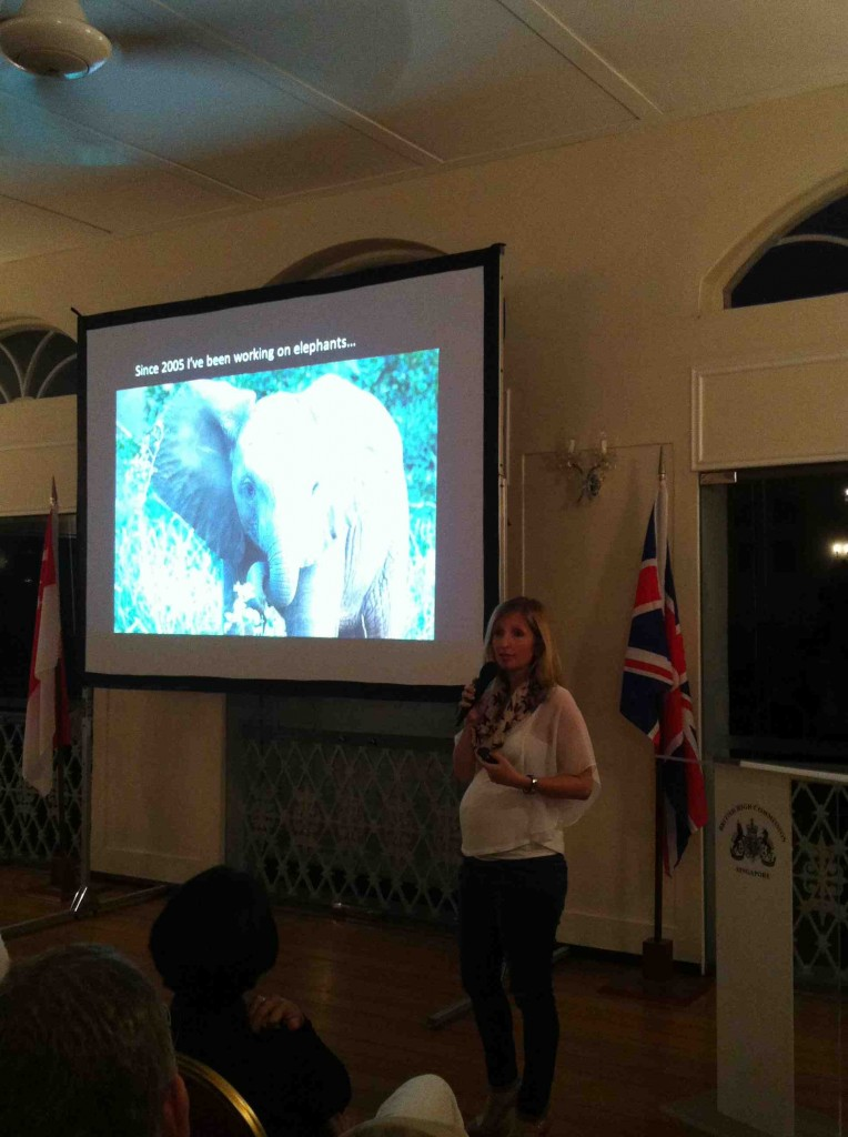 The author speaking at the Royal Geographic Society's event in Singapore