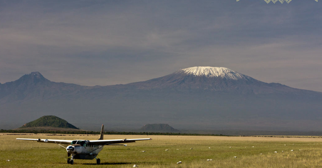 Ol Donyo airstrip, Kenya's Chyulu Hills, with Mount Kilimanjaro in the background