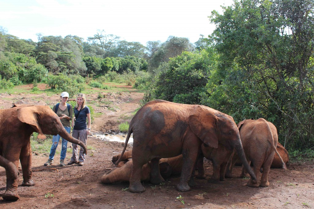 Author with Nadya Hutagalung on safari in Kenya at Daphne Sheldrick's elephant orphanage