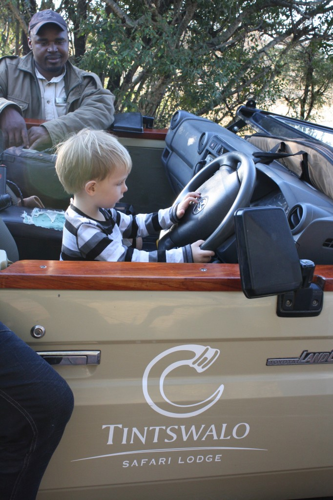 Solo (then aged 3) got to pretend to drive the Land Cruiser while on safari at Tintswalo, South Africa, which was definitely a highlight of the trip for him.
