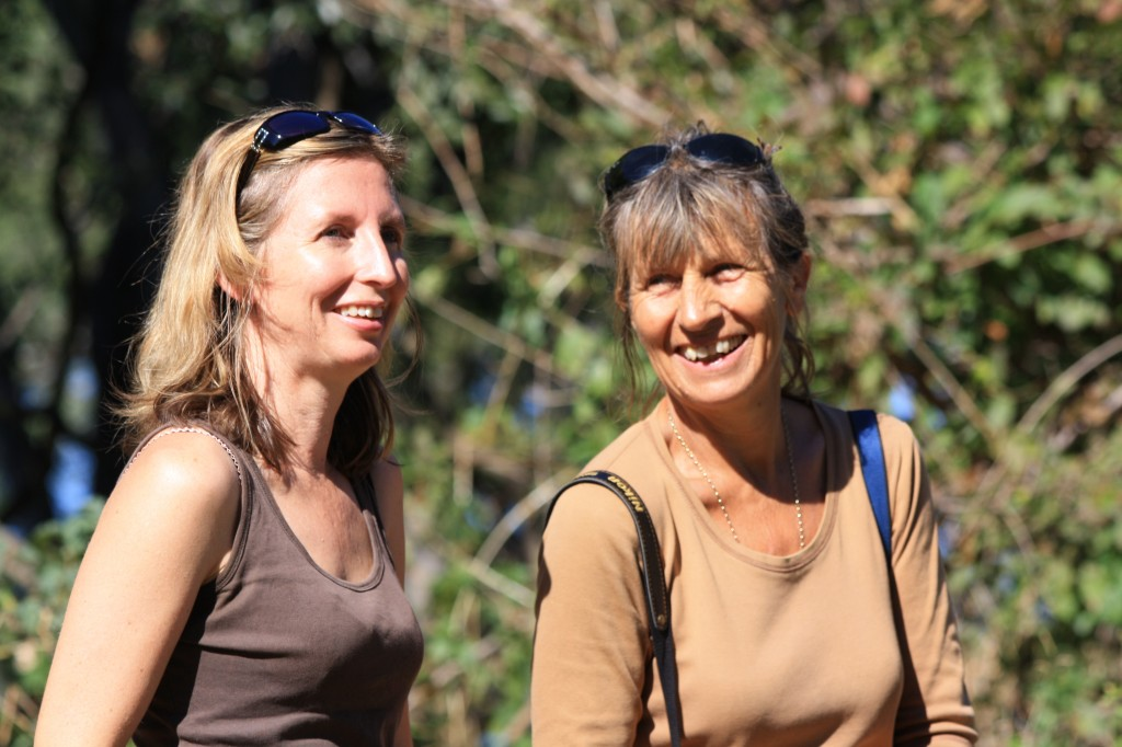Karen & I having a laugh together in 2011 on a walk in the bush near her home in Zimbabwe (credit: Andy Ridley)