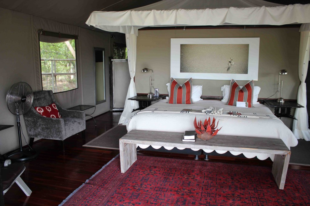 One thing we do not do in the Wilderness Safaris camps is rough it - this is true glamping in style (room at Chitabe)
