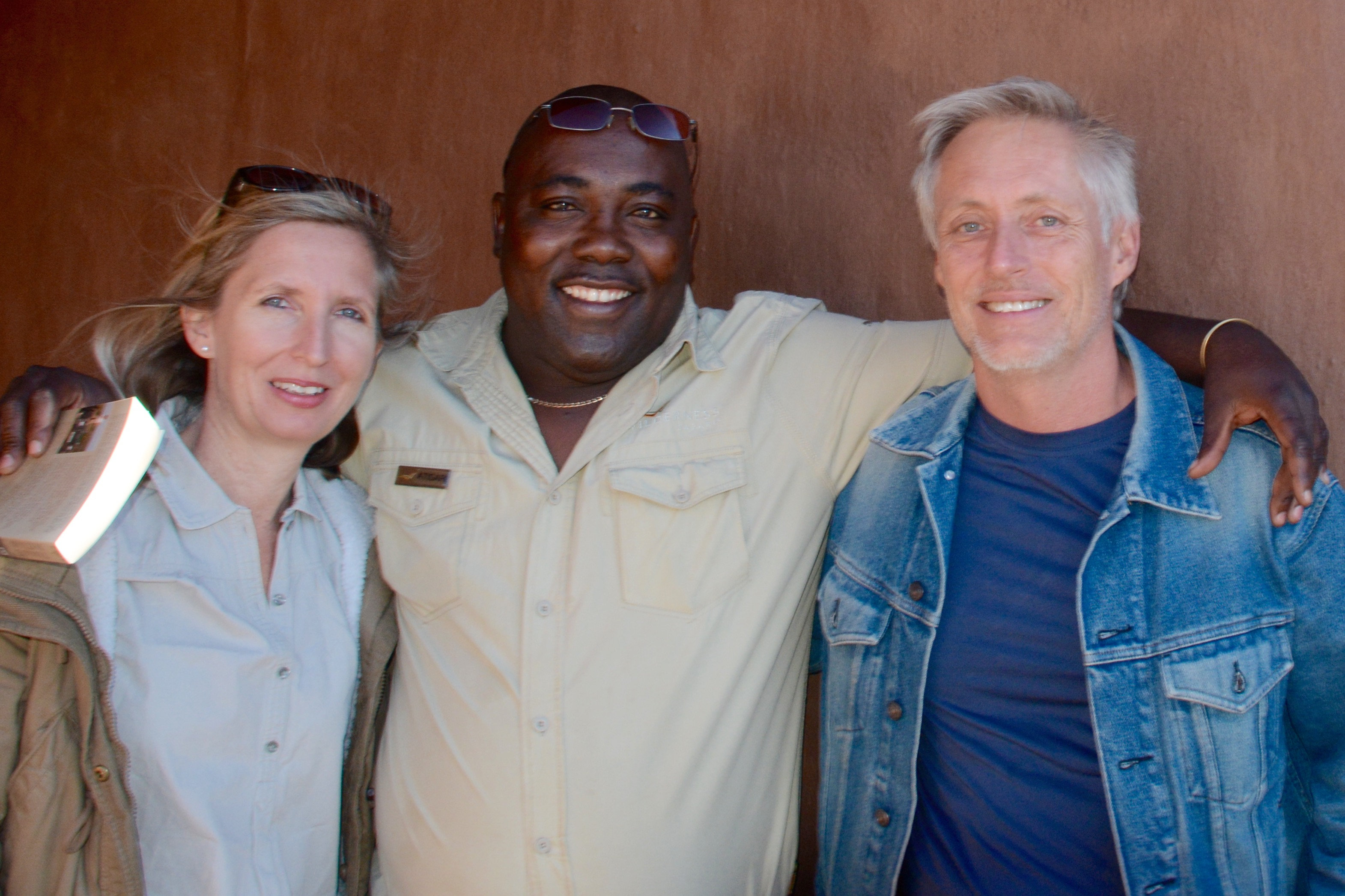 Me with Munekamba, my former research assistant, now known as Ati-Sari as manager of Kulala Desert Ldoge, and my Aussie guest, Robert Livingstone-Ward